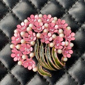 Vintage Pink Flower Daisy Enamel Rhinestone Brooch